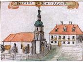 Ko�ci� parafialny na Psim Polu. Rysunek F.B. Wernera, 1762-68 (BU Rps Wroc�aw)