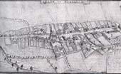 Widok ogólny miasteczka Psie Pole. Rysunek F.B. Wernera, 1762-68 (BU Rps Wrocław)